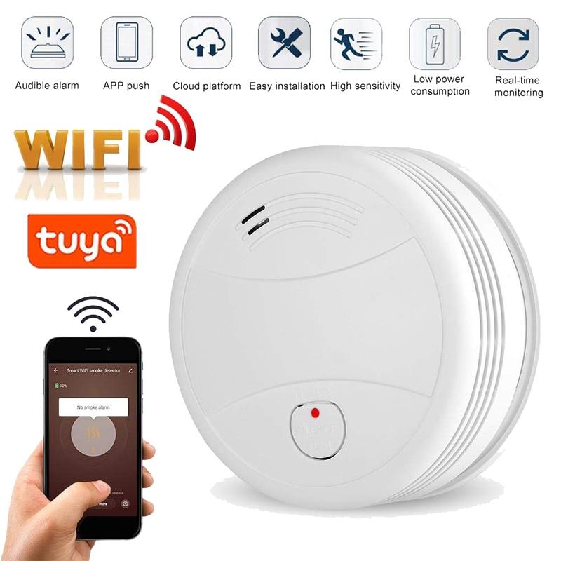 Датчик дыма Tuya с Wi-Fi, портативная система пожарной сигнализации для дома и офиса
