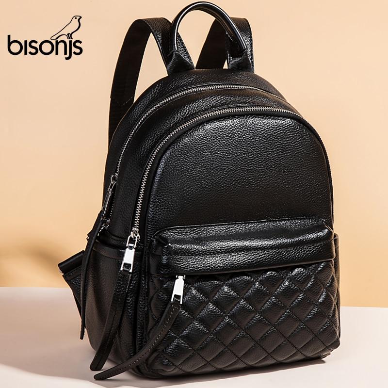 BISONJS Genuine Leather Women Backpack High Quality Women Large Backpack IPad A4 School Bag Teenagers Female Bag 2020 B1797
