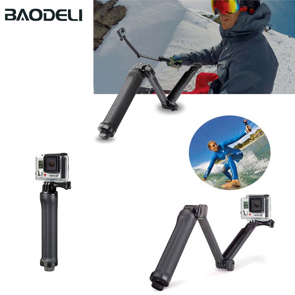 BAODELI Go Pro 3-Way Selfie Stick Monopod Camera Stand Tripod Carbon Tripode For Gopro Hero 7 5 Black Band 3 Camera Accessories