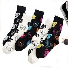 1Pair Women Socks Funny Cartoon Animal Combed Cotton Cat Dog Pattern Happy Unisex Harajuku Fashion Christmas Gifts Ankle
