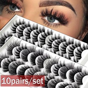 Naturalne sztuczne rzęsy 10 par kobiety prezent Handmade grube długie sztuczne rzęsy makijaż makijaż sztuczne miękkie sztuczne rzęsy tanie i dobre opinie COMBO Przedłużanie rzęs CN (pochodzenie) Inne 1 cm-1 5 cm Czarny Bawełna Łodyga Thick Long Natural False Eyelashes 10 Pairs