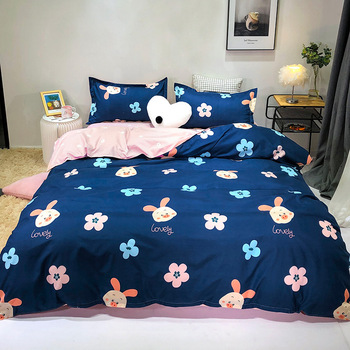Rabbit and flower printed Bedding Sets 4pcs blue and pink AB side Bed Linings Duvet Cover Bed Sheet kids Pillowcases Cover Set