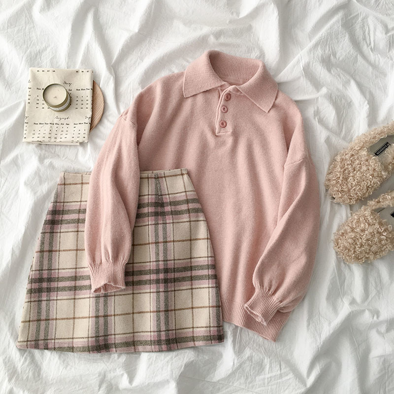 Sweet Woolen Fashion Twp Pieces Set Women Casual Turn-down Collar Sweater + Plaid High Waist Mini Skirt Matching Set
