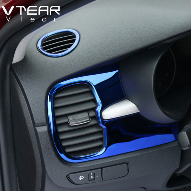 Vtear For Kia Rio 4 x line Accessories air outlet circle cover x-line interior mouldings car-styling chrome trim decoration 2017 1