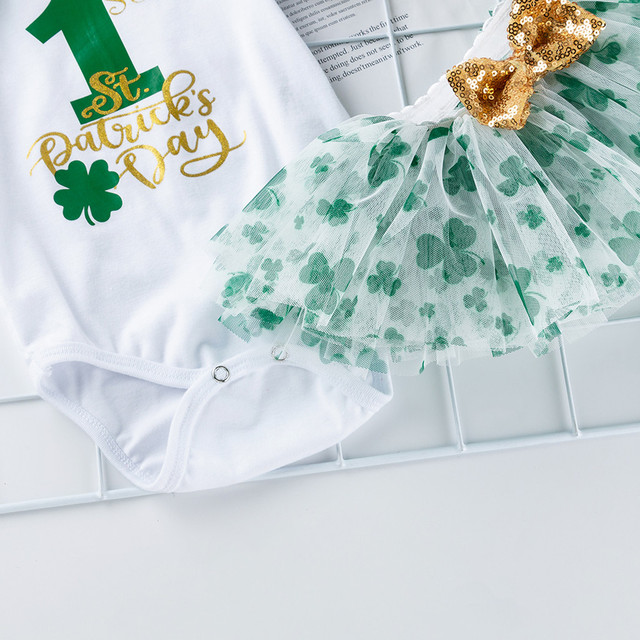 St Patricks Day Baby Newborn Clothes For Infant Girl First 1st St.patrick's Day Bodysuit Tutu Lace Skirt+hairband Summer Outfits | Happy Baby Mama