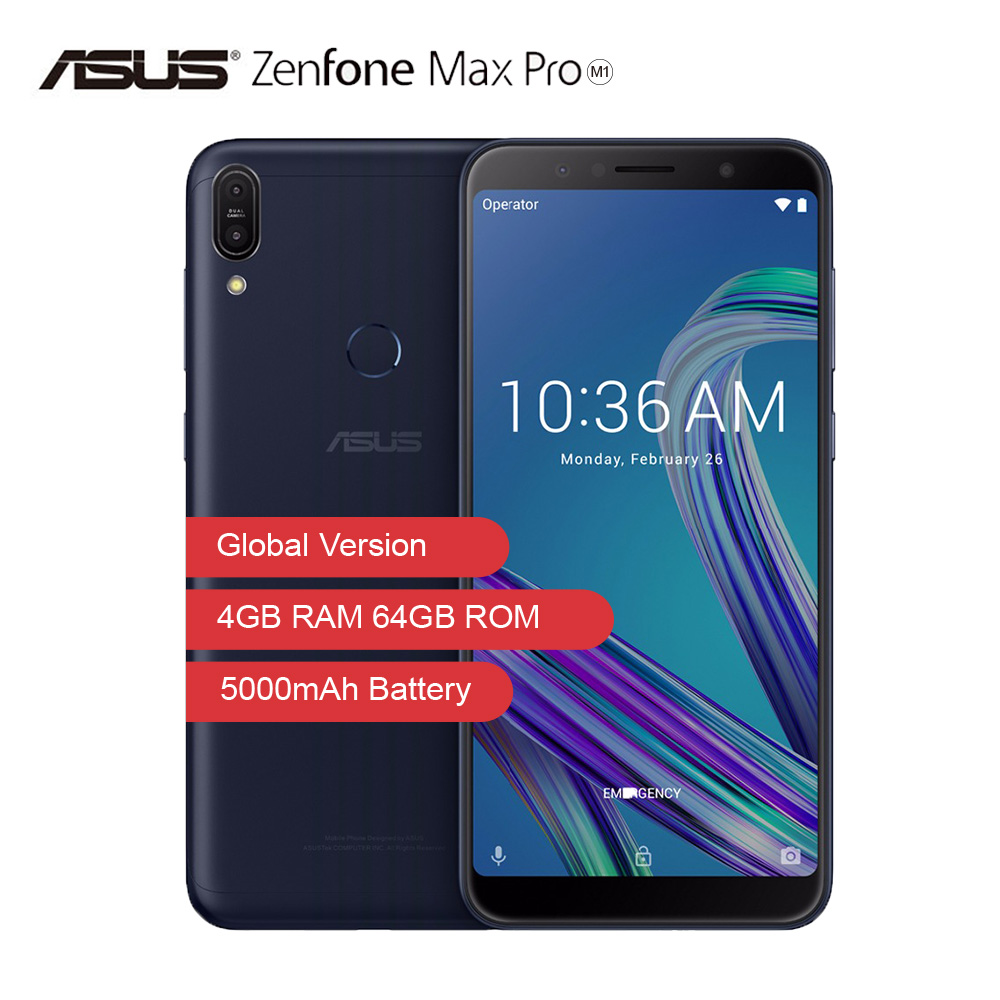 Global Version ASUS ZenFone Max Pro M1 6GB 64G ZB602KL 6 Inch 4G LTE Smart Unlocked Cell Phone Face ID 5000mAh Android8.1Gaming