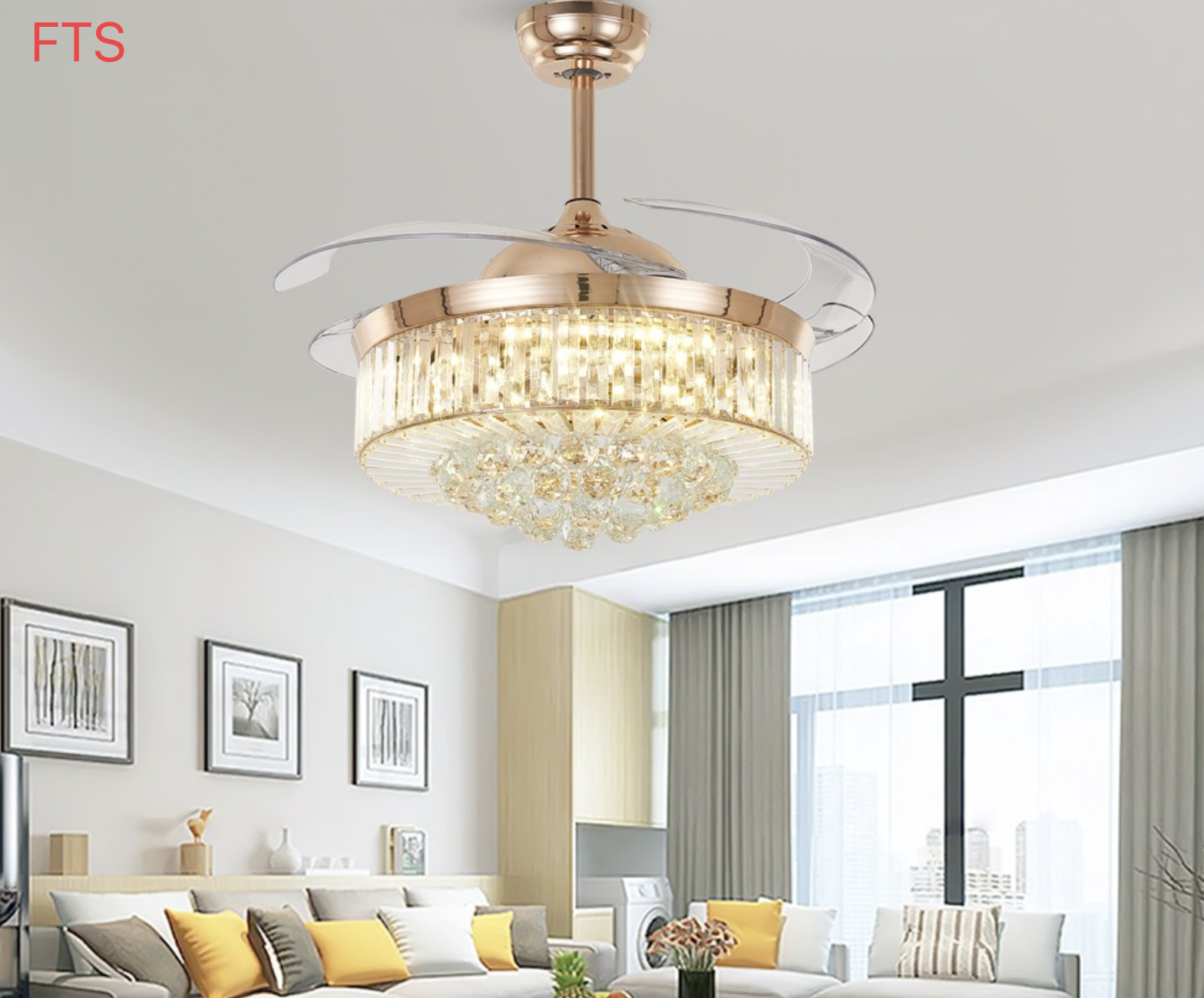 Crystal Fan Lamp Light Luxury Living Room Dining Room Bedroom Simple Ceiling Fan Lamp Modern High-end Invisible Fan Lamp Beautiful In Colour