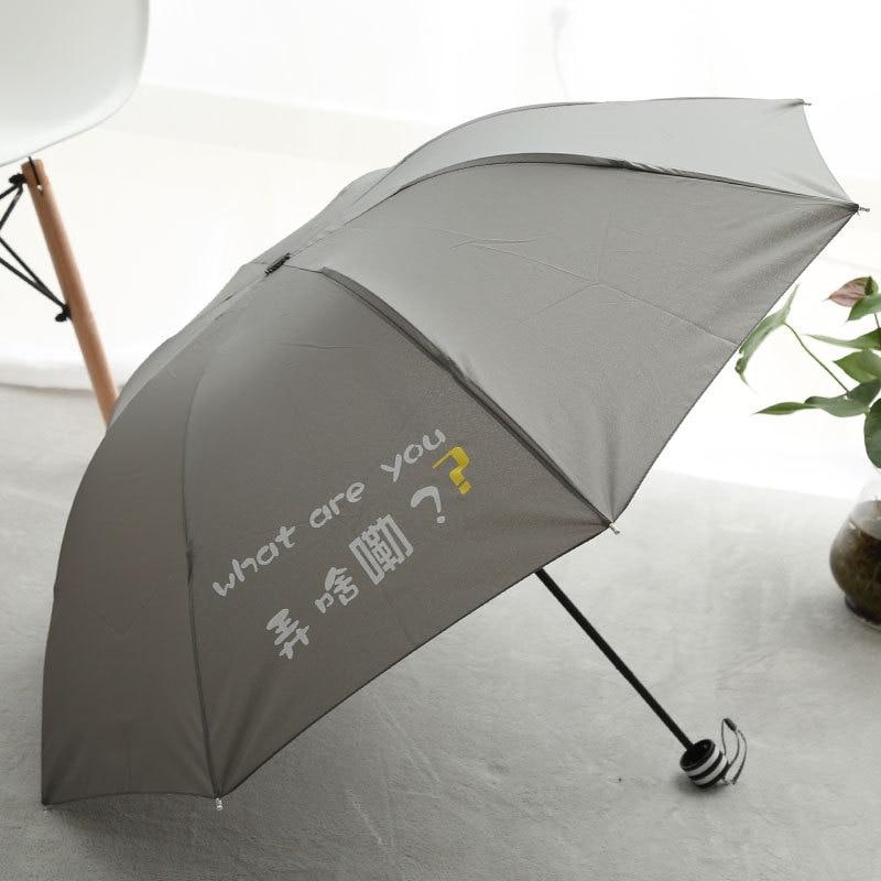 Creative Folding Umbrella Portable Sun-resistant Dual Purpose All-Weather Umbrella Students Three-fold Umbrella Parasol Manufact