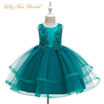 Baby Girls Flower Kids Dress for Girls Lace Appliques Tutu Princess Gown 2 4 6 7 8 10 Years Birthday Party Event Prom Dress