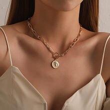 Collar Vintage de Metal multicapa para mujer, joyería de Metal grande, regalo, 2021