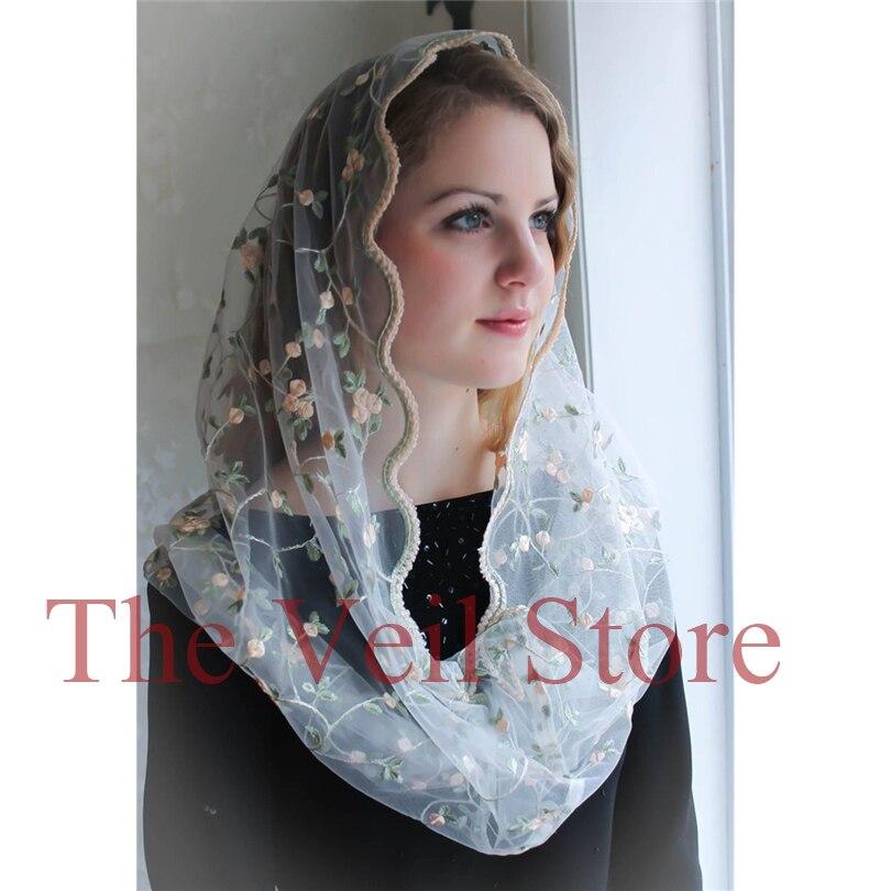 Embroided Round Lace Mantilla Women Catholic Veils For Church Infinity HeadCover Wraps Latin Mass Velo De Novia Negra Mantille