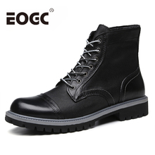 Fashion Black Men Boots Genuine Leather Ankle Autumn Work shoes Motorcycle for Botas plus size 38-47