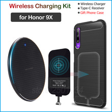 Oi Wireless Charging for Huawei Honor 9X Qi Wireless Charger+USB Type C Receiver Adapter Gift Soft TPU Case for Honor 9X