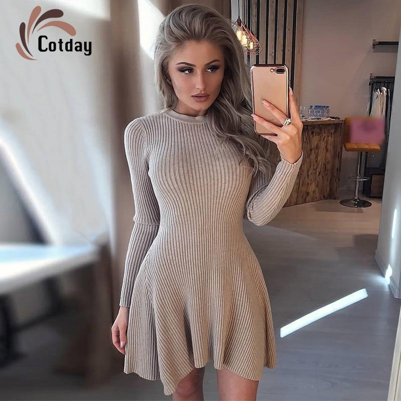 Женское трикотажное платье-свитер Cotday, Короткое мини-платье с круглым вырезом и рюшами, Осень-зима 2020