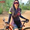 Cafete novo terno de ciclismo triathlon profissional das mulheres corrida equipe jérsei macacão manga longa apertado ciclismo terno 21