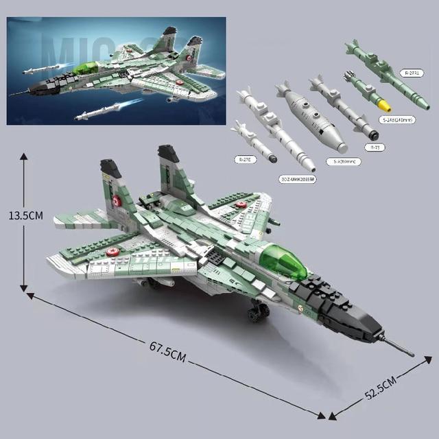 MOC 1387PCS Military High-Tech Air Fighter Aviation Aircraft MIG-29 Fighter Model Building Blocks Bricks kids DIY Toys gifts 1