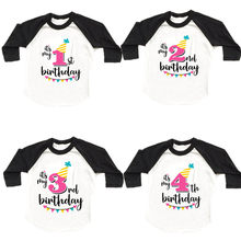 New Kids Boys Girls Birthday T Shirt Autumn Long Sleeved T-shirts Tops Size 1 2 3 4 5 6 7 8 Years Children Spring Clothes(China)