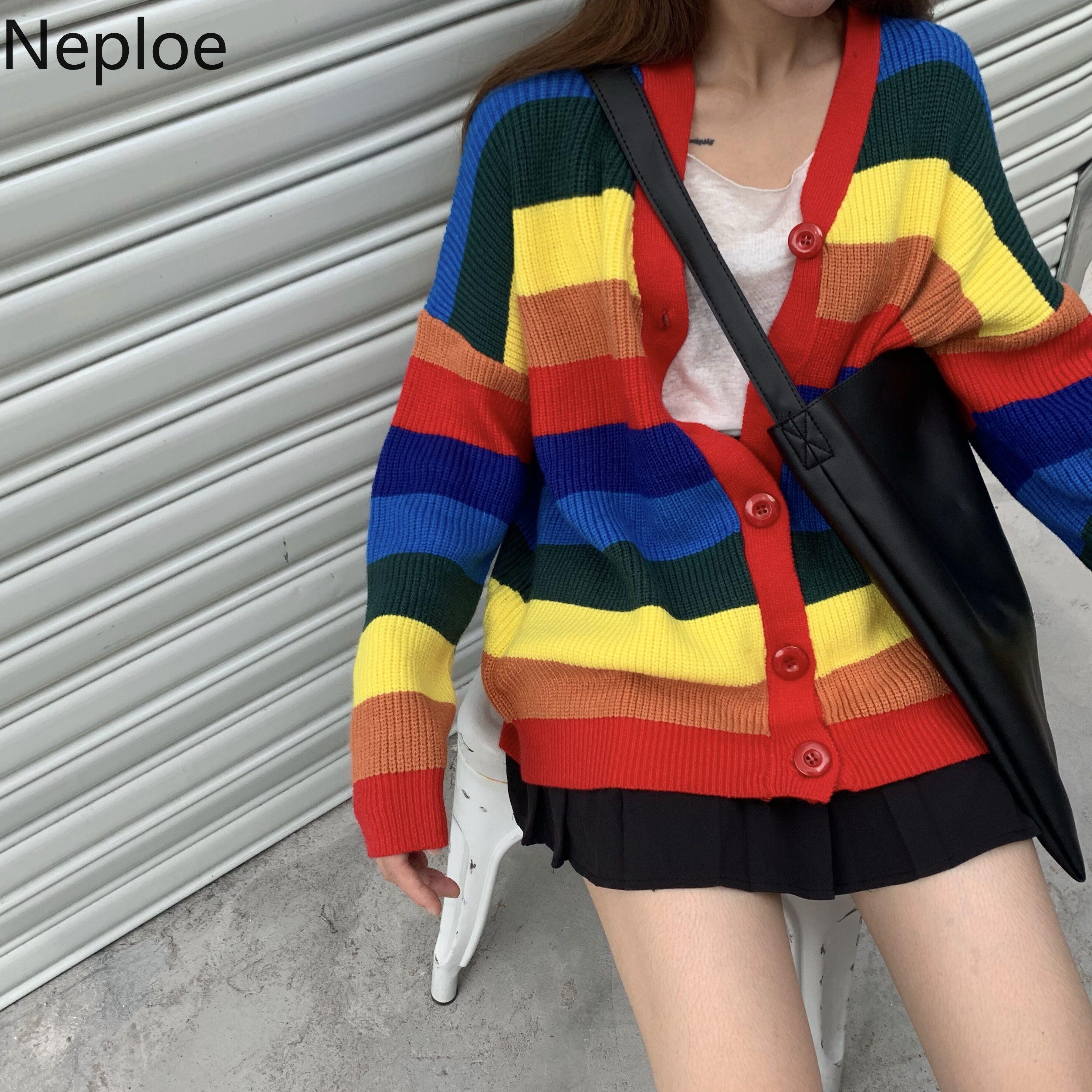 Neploe Knit Cardigan V-Neck sweater Rainbow Coat Jacket Jumper Pull Long-Sleeve Medium-Long