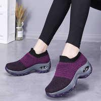 Novo 2020 verão das sapatilhas das mulheres da moda respirável malha sapatos casuais plataforma tênis para as mulheres preto meias tênis
