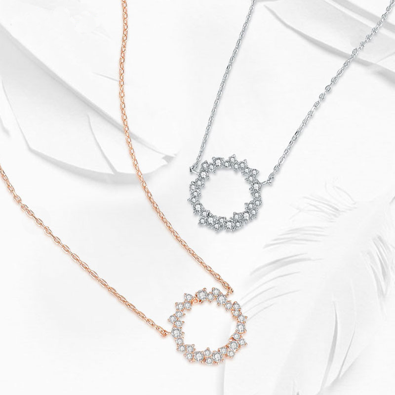 Trendy 925 Sterling Silver Round Necklace Set Shiny Full Zircon Circle Pendant Necklaces Gift For Women Fine Accessories NK069