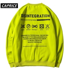 Letter Printed Sweatshirts Mens Autumn Harajuku Streetwear Casual Cotton Pullover Fashion Hip Hop Long Sleeve Fluorescent green 49 hot back ribbon pullover printed sweatshirts men 2018 hip hop spring casual fashion long sleeve swag sweatshirts streetwear