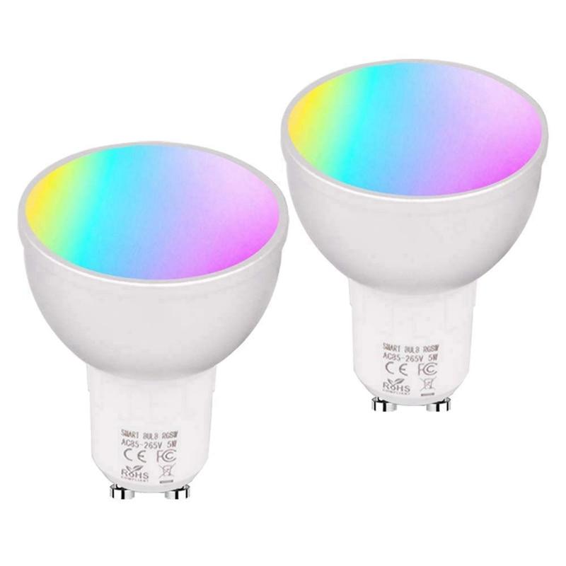 2pcs 6w wi fi inteligente lampada led gu10 rgbw regulavel luz copo compativel com alexa inicial