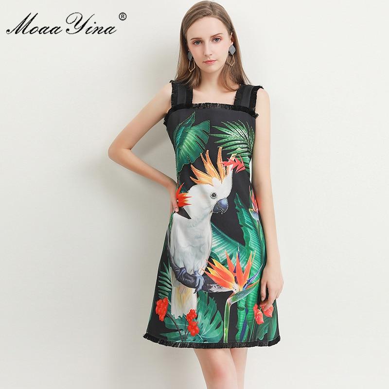 Image 2 - MoaaYina Fashion Designer dress Spring Summer Womens Dress Green  leaf Parrot Print Beading Spaghetti strap DressesDresses   -