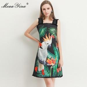Image 2 - MoaaYina robe de créateur de mode printemps été femmes robe vert feuille perroquet impression perles Spaghetti sangle robes