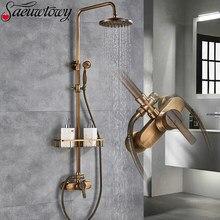 Estilo de bronze antigo conjunto torneira do chuveiro único punho com handheld chuveiro torneiras misturadoras montagem na parede banheiro torneira banho com prateleiras