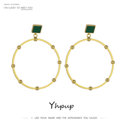 Yhpup Fashion Big Round Hollow Dangle Earrings Exquisite Natural Shell Stone Statement Earrings for Female Party Jewelry Gift