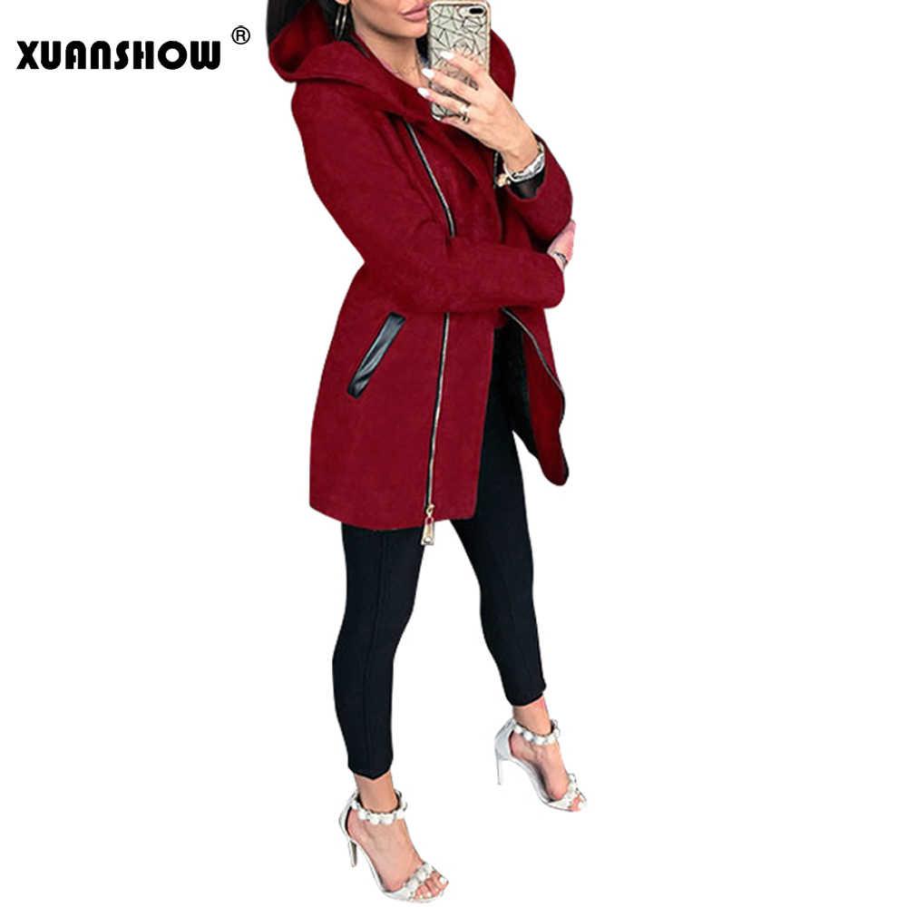 XUANSHOW 2019 ฤดูหนาวฤดูหนาวฤดูใบไม้ร่วงแขนยาว Hooded เสื้อแจ็คเก็ตผู้หญิง Casual Slim Diagonal Zipper หญิง Harajuku ผู้หญิง Hoodies