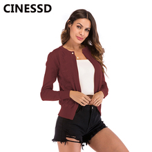 CINESSD Knitted Cardign Coat Women Solid O Neck Long Sleeve Pearl Button Hollow Out Casual Knitwear Jacket Burgundy Sweater