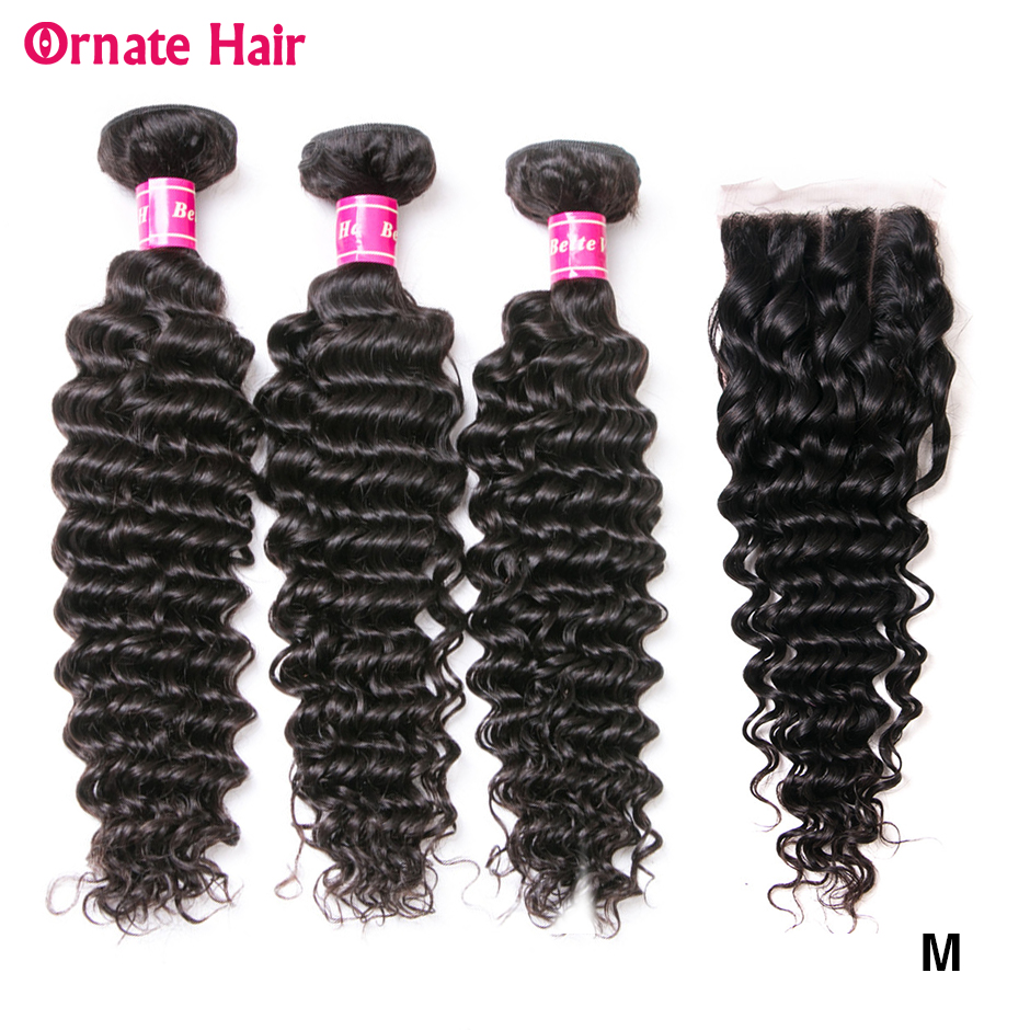 Deep Wave Human Hair Bundles With Closure Brazillian Hair Weave 3 Bundles With Lace Closures Natural Non-Remy Hair Middle Ratio