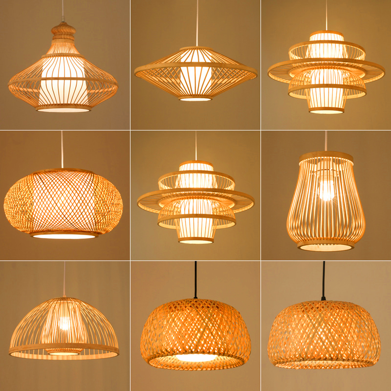 Chinese Bamboo LED Pendant Light Lighting Garden Restaurant Pendant Lamp Hotel Farm Teahouse Lantern Tatami Bamboo Hanging Lamp