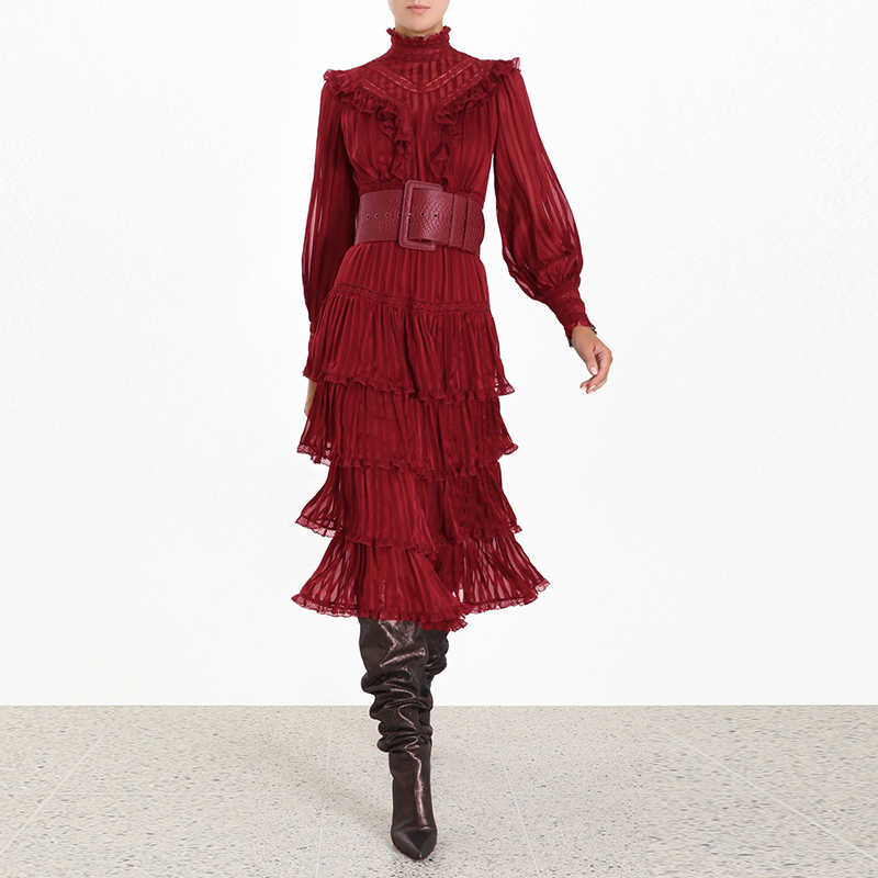Bohemian Ruffle lace Dress For Women 2019 Stand Collar Lantern Long Sleeve Red Cake Mid-length Dress image