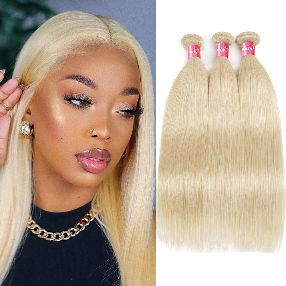 #613 rubio miel extensiones de cabello humano 3 unids/lote cabello Remy brasileño Remy 16 18 20 22 24 pulgadas Longqi pelo