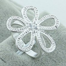 Wholesale Fashion Beautiful 925 Sterling Silver Flower Engagement Rings, High Quality Five Rings Treasure Woman