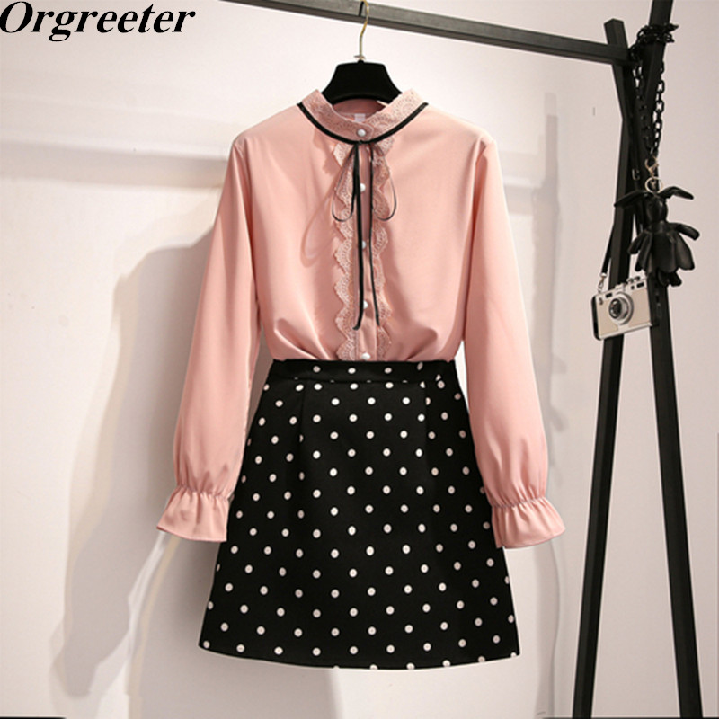 2020 Spring 2 Piece Set New Korean Flounced Tops Lace Up Bow Women' Long Sleeve Chiffon Blouse And Dot Skirt Outfits