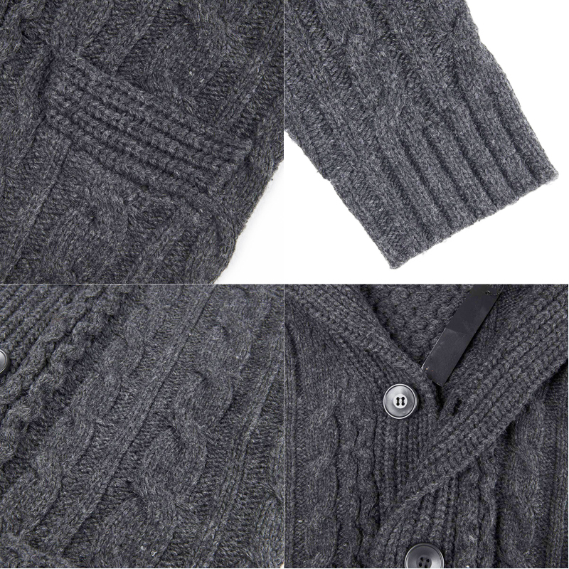 Mens Shawl Collar Sweater Knitted Cardigan Turtleneck Warm Tops Buttons Coat New