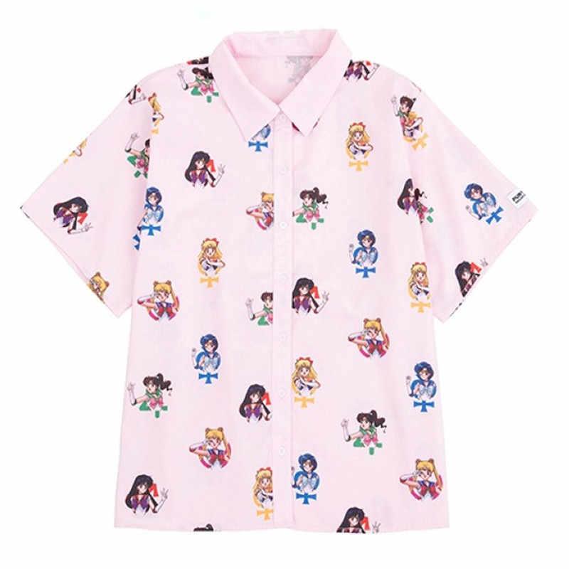 Gagarich Sailor Moon Pink Kemeja Lengan Pendek Harajuku T Shirt Wanita Pakaian 2019 Cosplay Cute Kawaii Atasan