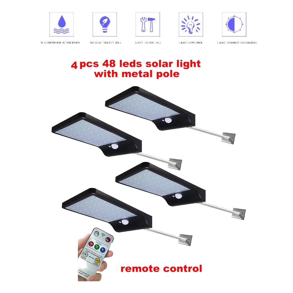 2/4pcs Solar Lights Outdoor 48 LED Waterproof Motion Sensor Security Light Detachable Design Wall Light for Driveway Garden secu|Solar Lamps| |  - title=