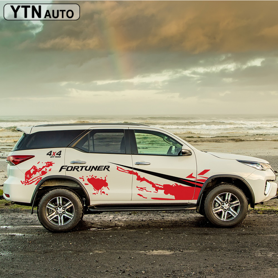 Car Stickers  Side Body  Sticker 4X4 Off Road Stripe Suv Graphic Vinyls Car Decals Custom For Toyota FORTUNER