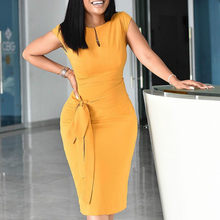 Vestido elástico amarillo de talla grande para mujer, vestidos ajustados de oficina para mujer, cinturón de cintura de trabajo modesto con clase africana, moda XXXL