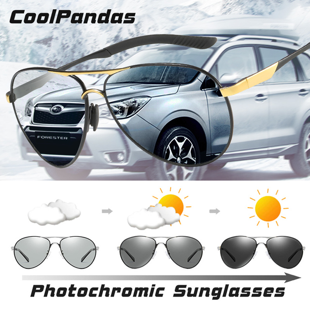 CoolPandas Brand Men Pilot Sunglasses Polarized Driving HD Photochromic Sun Glasses Women Aviation Discoloration zonnebril heren