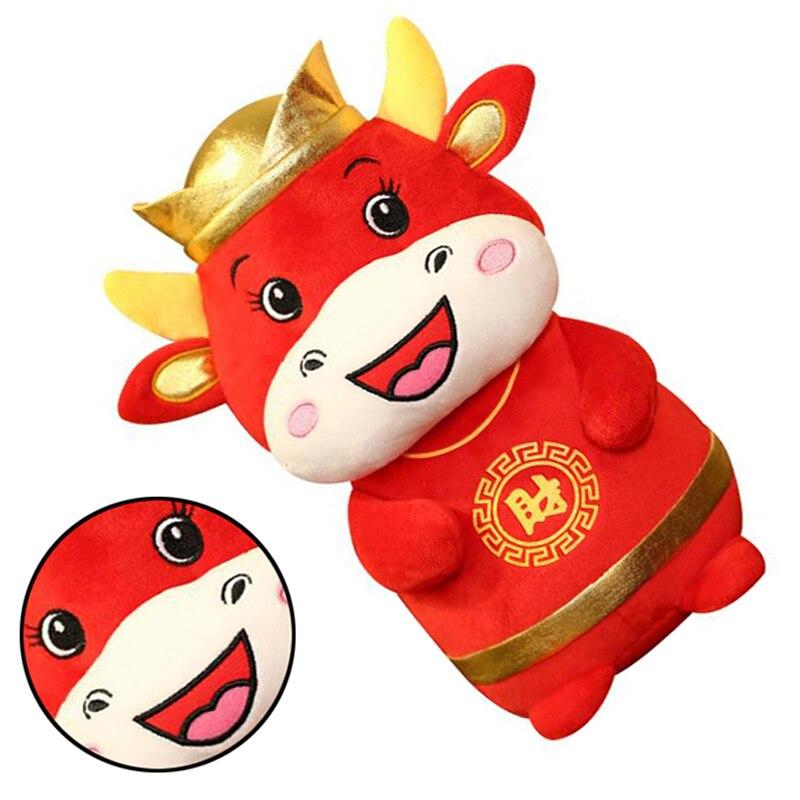 1 PC 22cm 2021 Year Chinese Zodiac Ox Cattle Plush Toys Cute Red Milk Cow Mascot Plush Doll Stuffed For Children Kids Gift-5