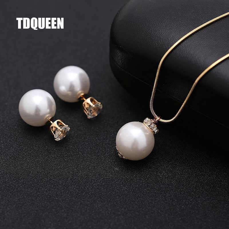 Imitation Pearl Jewelry sets for Women Gold-color Metal Chain Round White Pearl Necklace and Earing set Austrian Crystal Jewelry