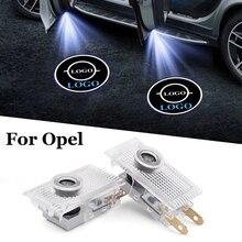 2PC de coche luz de advertencia de puerta LED proyector de cortesía con Logo para Opel Astra h g j Insignia Zafira b Corsa d Vectra c Antara Vivaro Opc