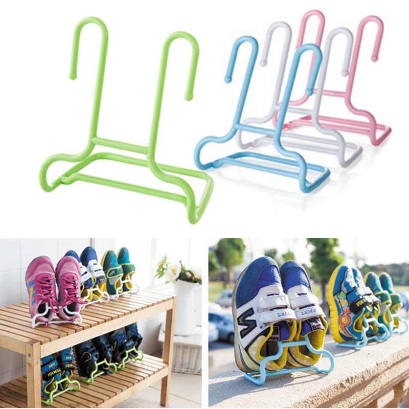 2PCS Shelf Drying Rack Children Shoes Holder Storage Hanger Wardrobe Organizer