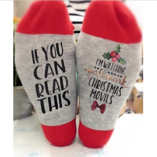 1Pair Hallmark Movies Soft Socks Christmas Letters Leave Me  Watching Movie Printed Women Winter Warm Socks Gifts Drop Shipping