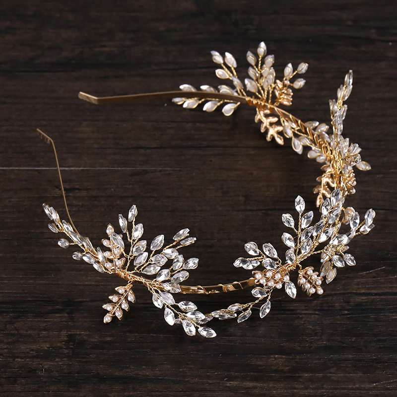 Golden Exquisite Crystal Headband Headdress Europe And America Noble And Elegant Gold Headband Hair Band Jewelry Female